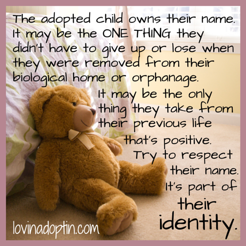 changing the adopted child's name