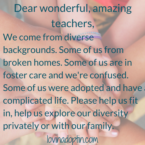 dear teachers, we come from diverse backgrounds