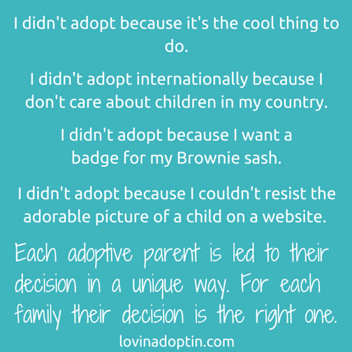 I didn't adopt because...